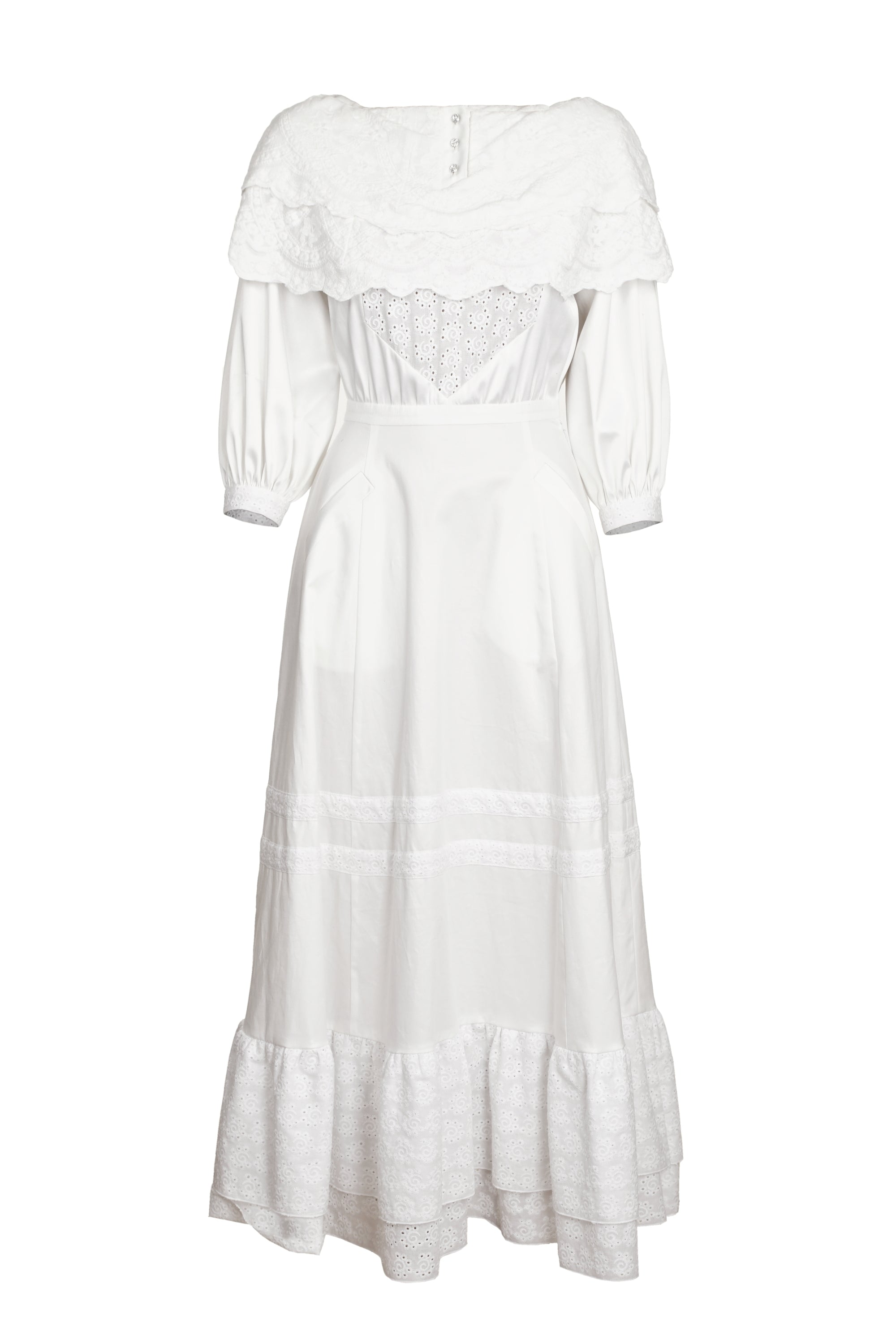 WHITE BOHEMIAN DRESS WITH EMBROIDERY