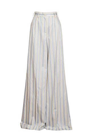 LIGHT BLUE & CRÈME STRIPE TROUSERS