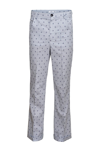 TAILORED FIT TROUSERS WITH ANCHOR PATTERN