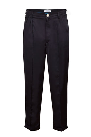 BLACK ANKLE HIGH SILK TROUSERS