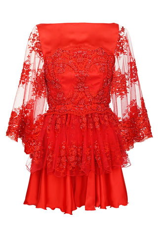 RED COCKTAIL DRESS WITH EMBROIDERY