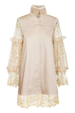 BEIGE BUTTON UP DRESS WITH BOUFFANT SLEEVES