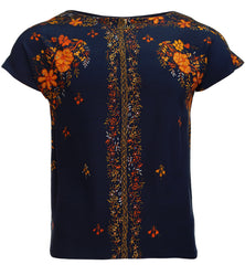 DARK BLUE TOP WITH FLORAL PATTERN