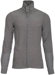 BLACK & WHITE GRAPHIC PATTERN SHIRT WITH RIBBON
