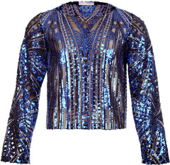 BLUE & GOLD SEQUIN TOP WITH LONG SLEEVES