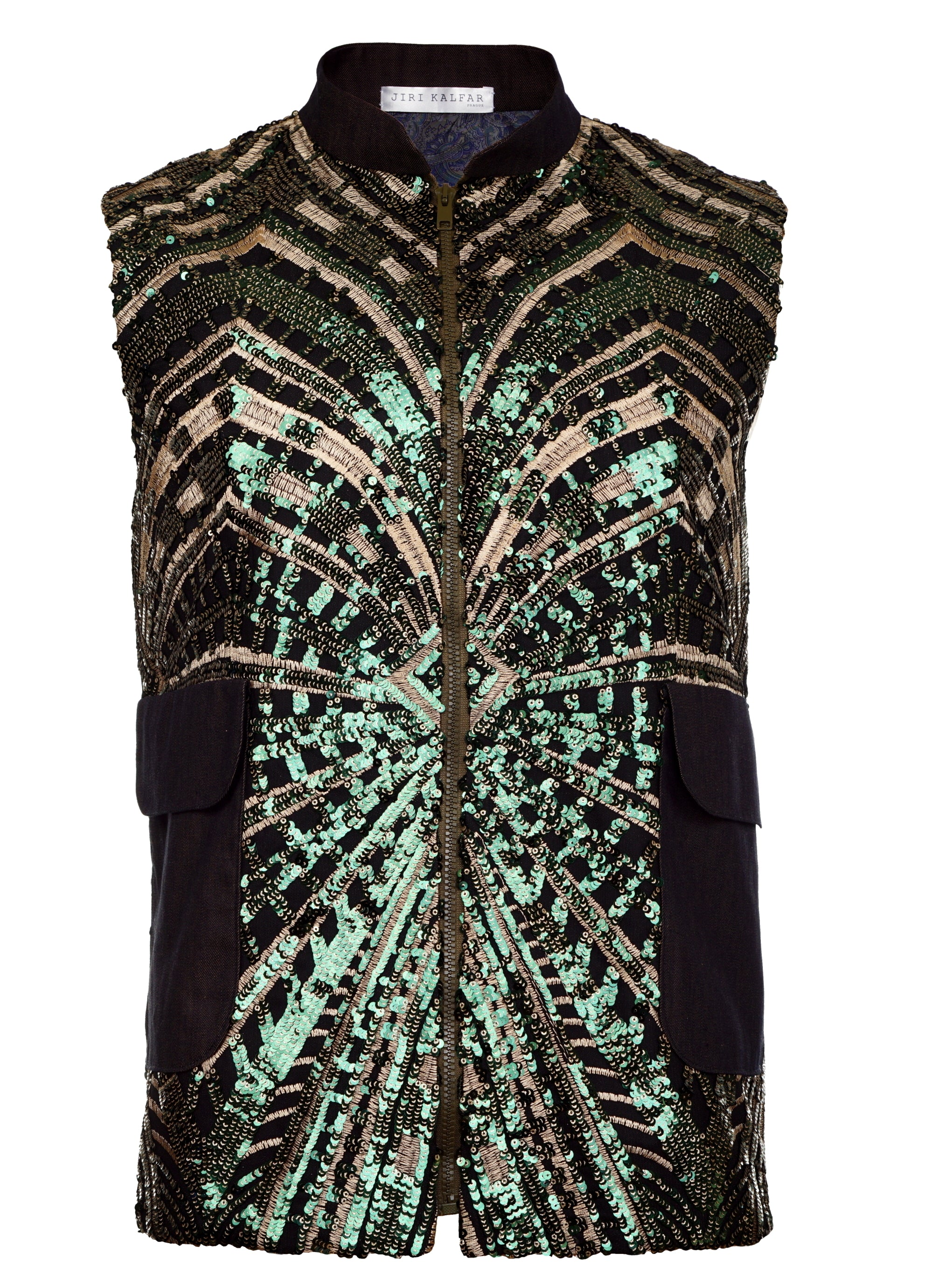 GREEN & GOLD SEQUIN VEST