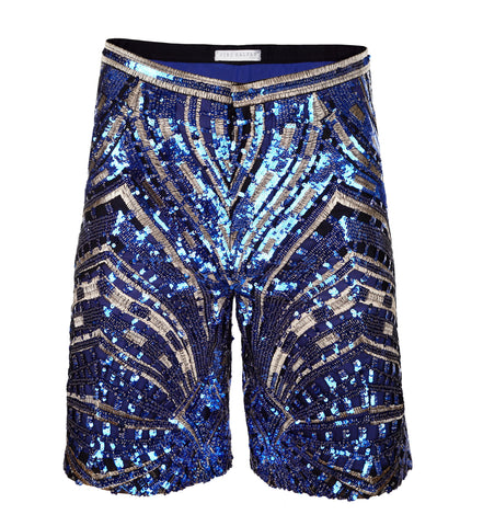 BLUE & GOLD SEQUIN SHORTS