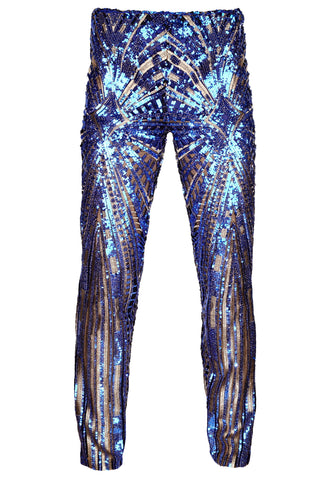 BLUE & GOLD SEQUIN TROUSERS