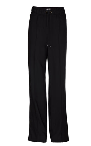 BLACK CREASED TROUSERS WITH WAISTBAND
