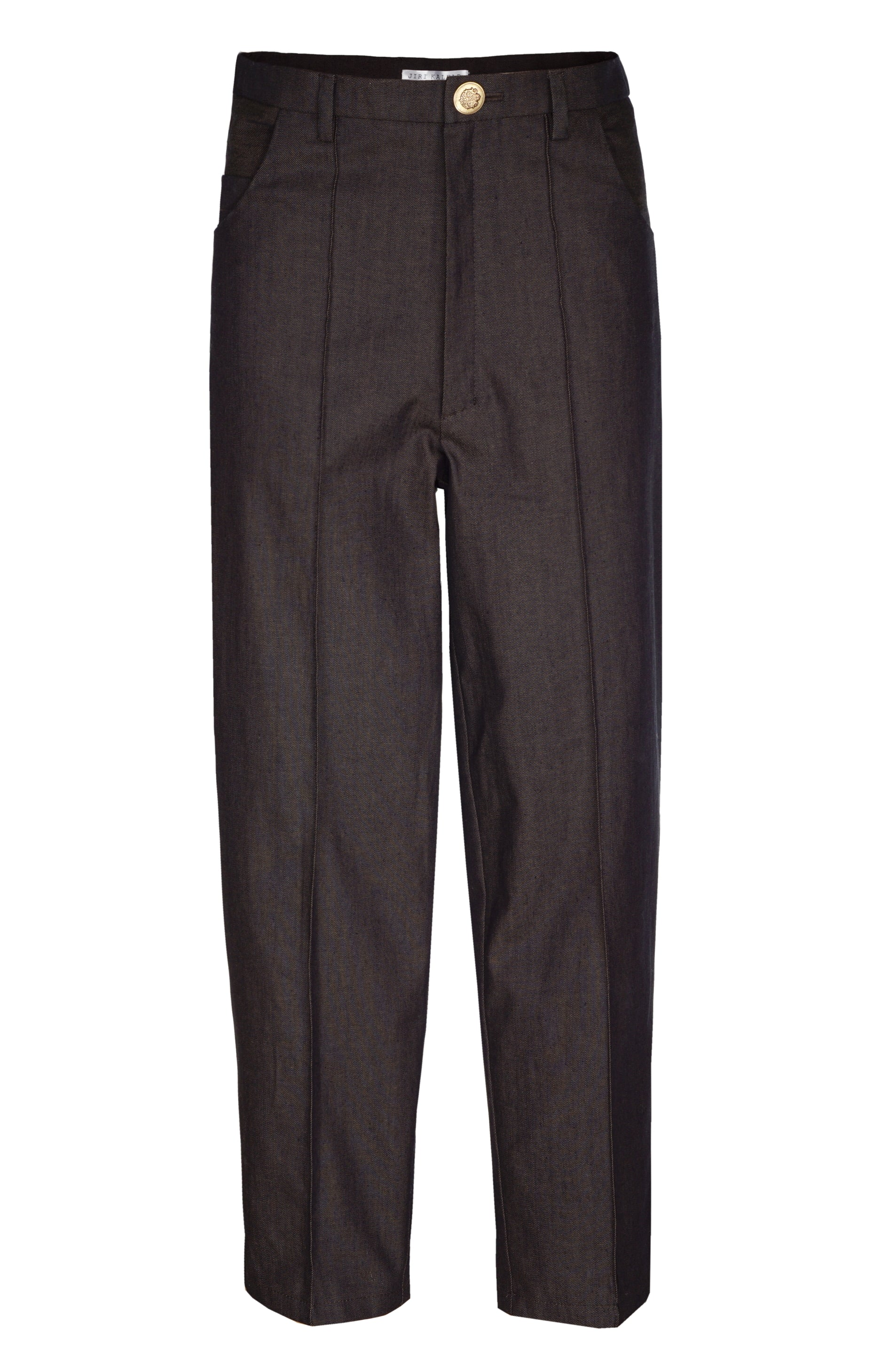 BROWN CROPPED TROUSERS WITH CREASE