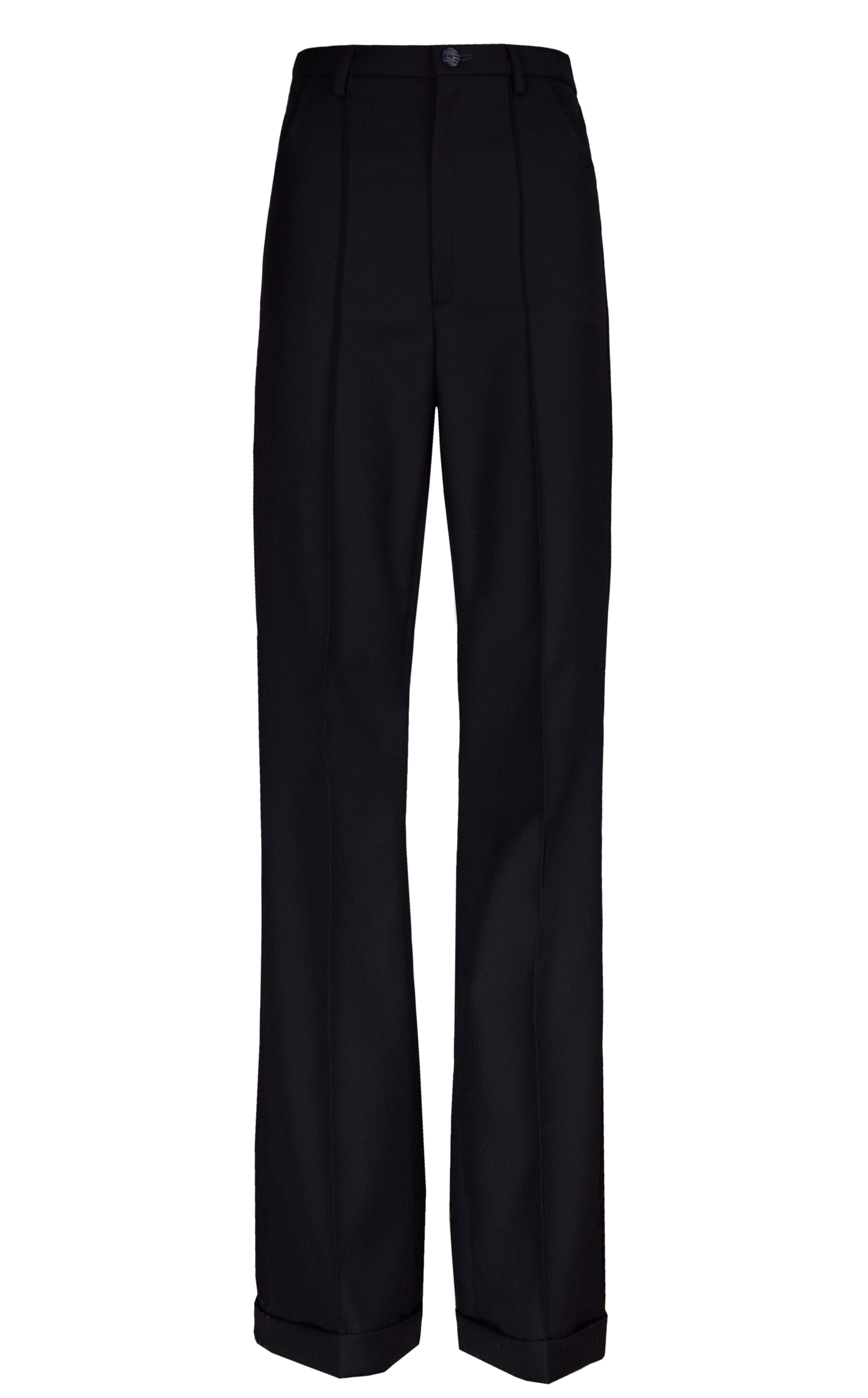BLACK CREASED TROUSERS