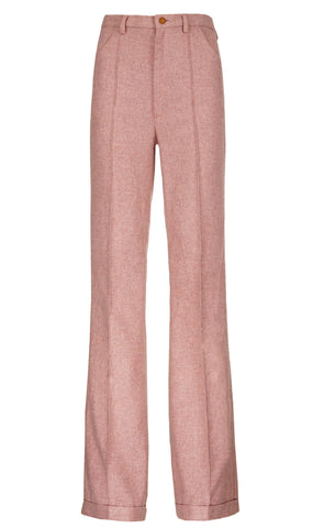 PINK GROOVY CREASED TROUSERS