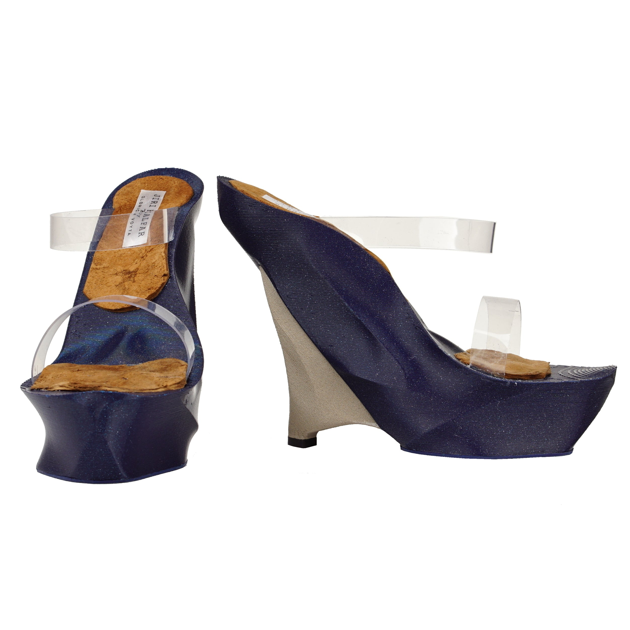 DARK BLUE & CHAMPAGNE 3D PRINT SHOES WITH PVC STRAPS