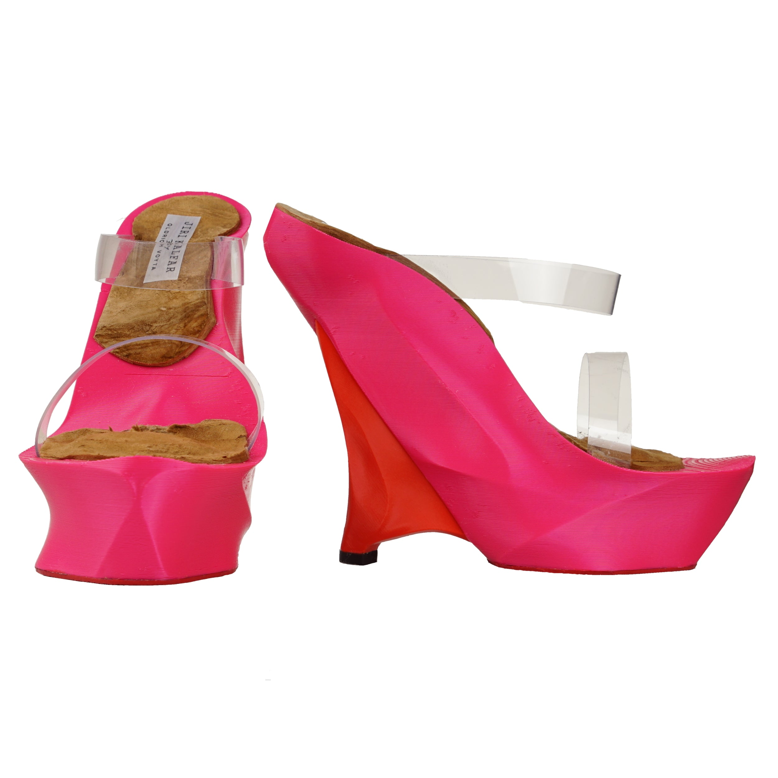 ELECTRIC PINK & RED 3D PRINT SHOES WITH PVC STRAPS