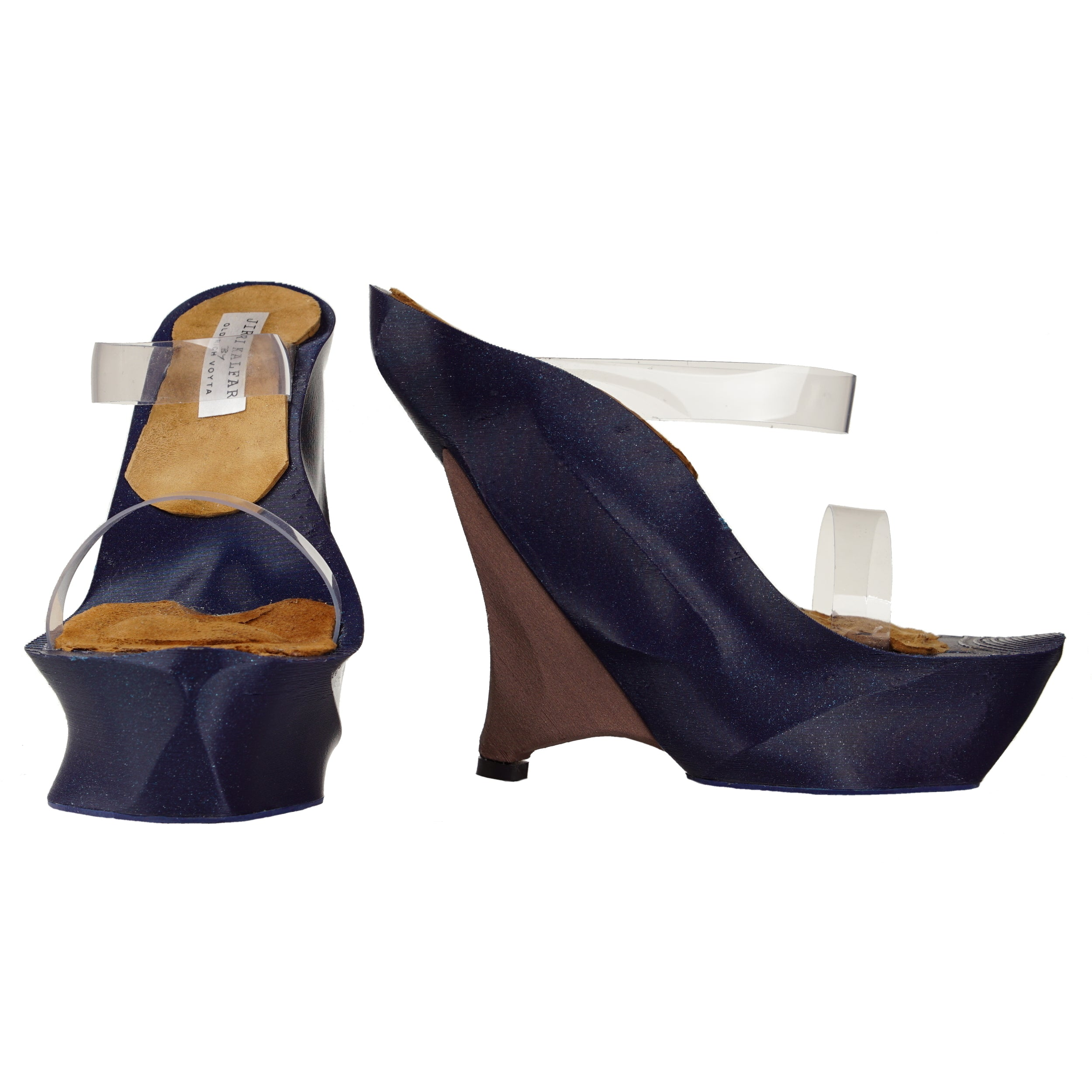 DARK BLUE & ROSE WOOD 3D PRINT SHOES WITH PVC STRAPS