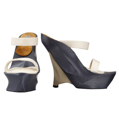 GREY & CHAMPAGNE 3D PRINT SHOES WITH WHITE STRAPS