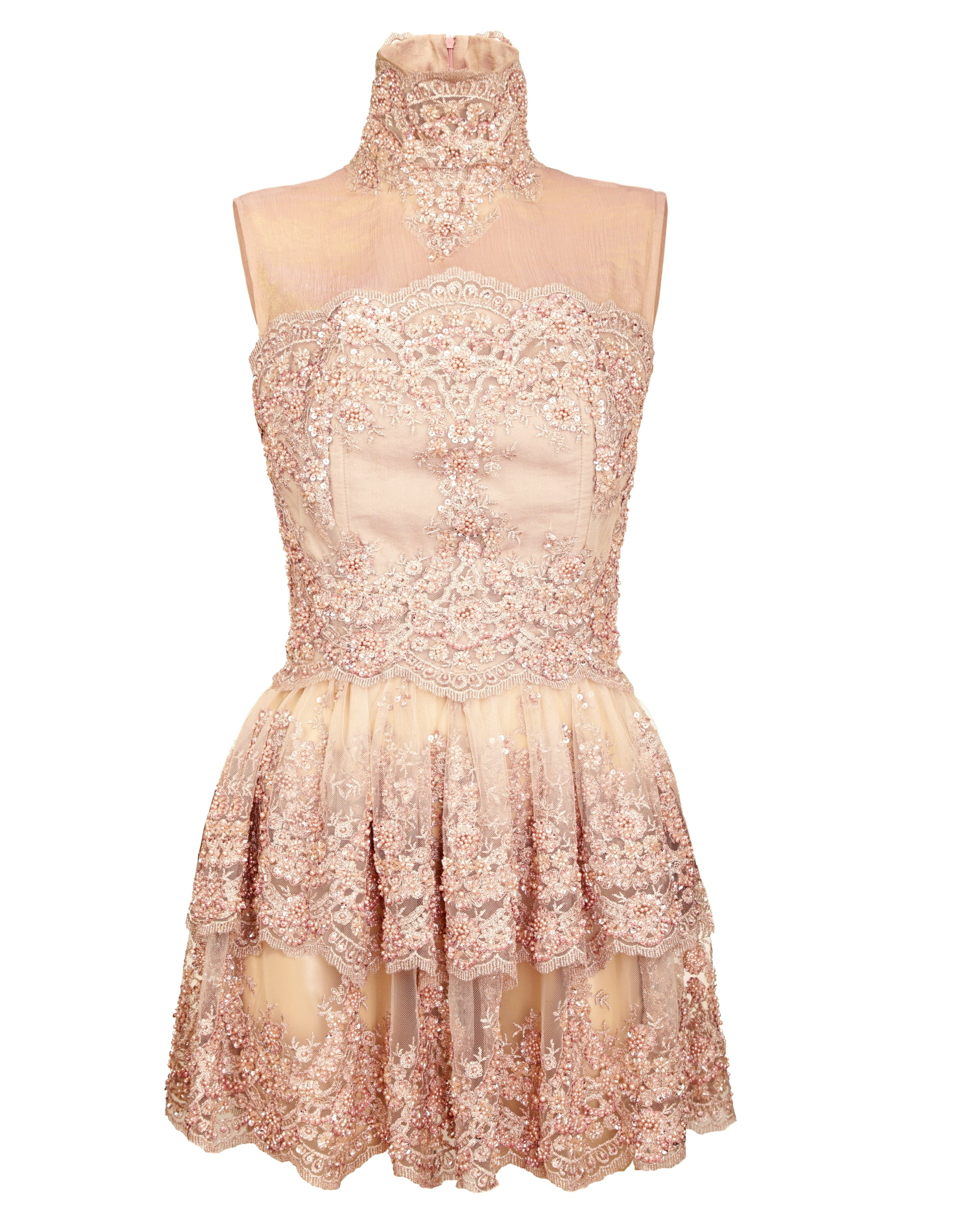 SHORT POWDER PINK DRESS WITH EMBROIDERY
