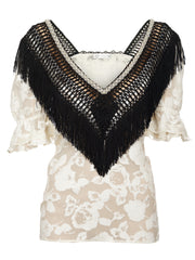 BLACK & WHITE FRINGES TOP