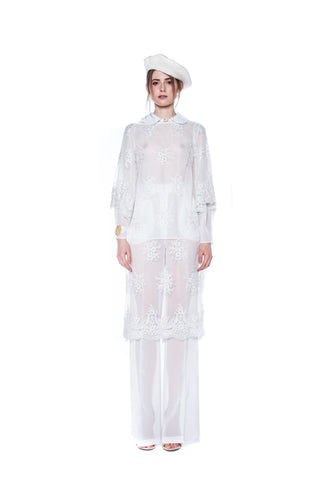 WHITE LONG EMBROIDERED DRESS