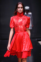 RED BLOUSE WITH SHORT SLEEVES & RED SILK LAYERED SKIRT