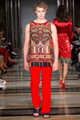 RED TANK TOP WITH FOLKLORE PATTERN