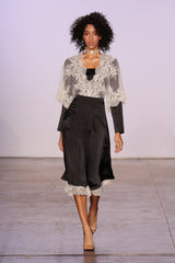BLACK SILK SKIRT WITH EMBROIDERED WHITE TULLE
