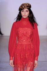RED SILK CHIFFON DRESS WITH EMBROIDERY