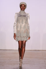 SILVER SHORT SILK DRESS WITH EMBROIDERY