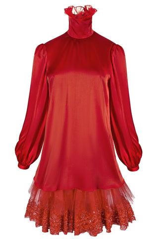 RED SILK DRESS WITH HIGH NECK