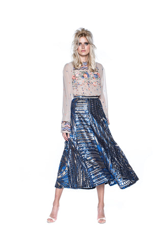 BLUE & GOLD SEQUIN SKIRT