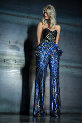 SEQUIN GREEN & BLUE & GOLD  TROUSERS