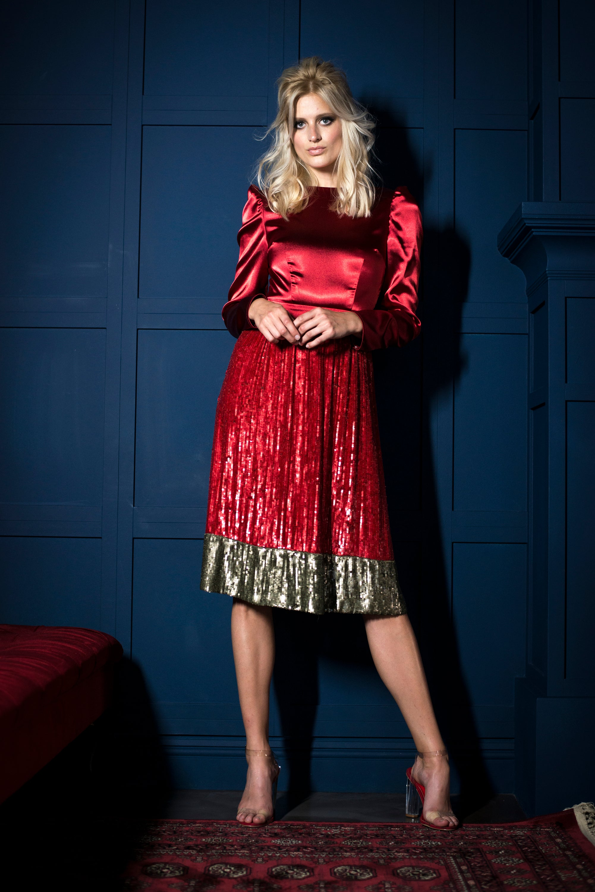 RED & GOLD SEQUIN DRESS