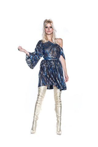 BLUE & GOLD SEQUIN DRESS