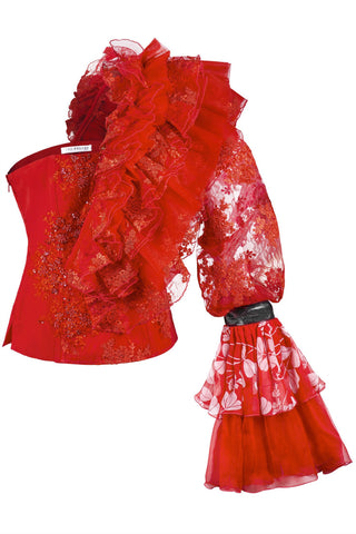 RED SILK CORSET WITH ONE SHOULDER RUFFLE TOP