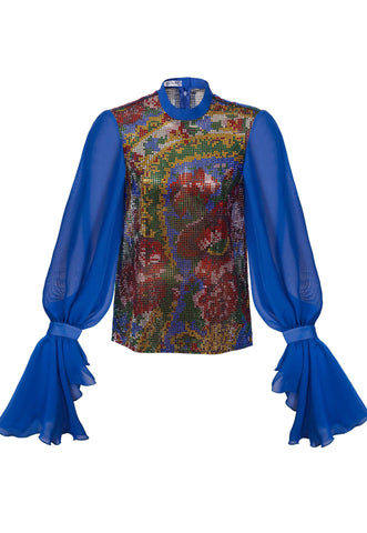 PRECIOSA CRYSTAL NET TOP WITH ROYAL BLUE SLEEVES