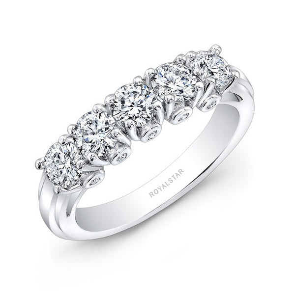 18kt White Gold 5 Stone Wedding Band