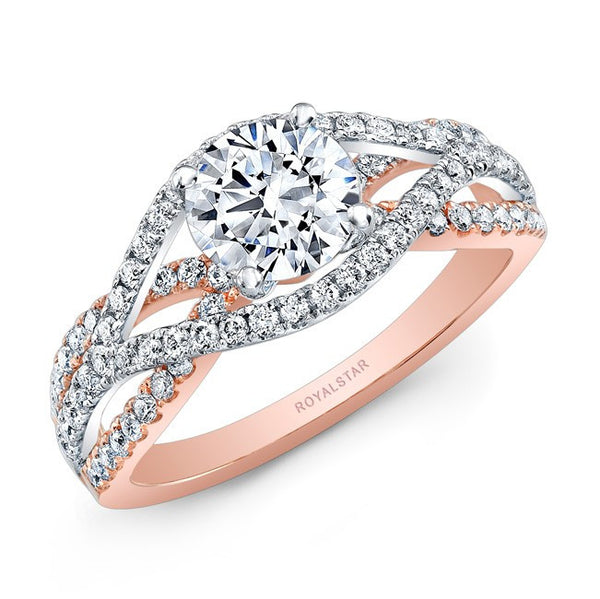 18kt White and Rose Gold Semi-Mount Engagement Ring