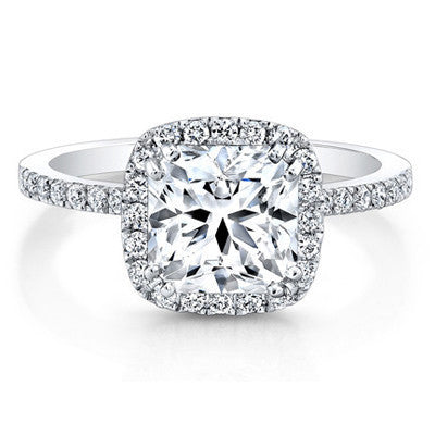 18kt White Gold Cushion Halo Semi-Mount Engagement Ring