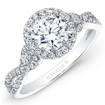 18kt White Gold Round Halo Semi-Mount Engagement Ring