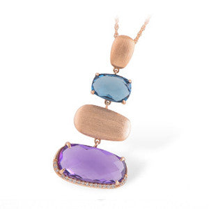 14kt Rose Gold Pendant with Genuine Amethyst and Blue Topaz
