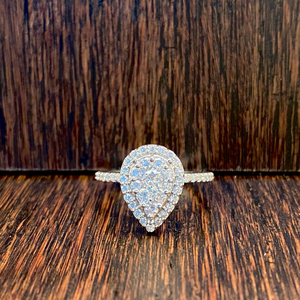 Radiance Pear Halo Engagement Ring