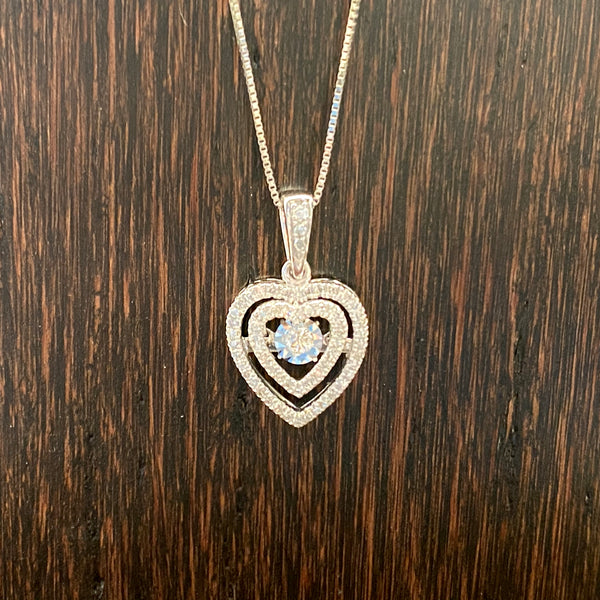 Dancing Diamond Heart Pendant