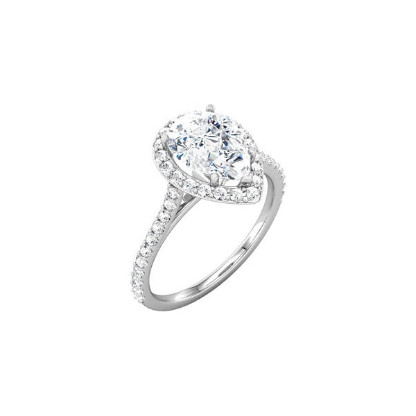 18kt white gold engagement ring with pear shape diamond center (price does not include center stone)
