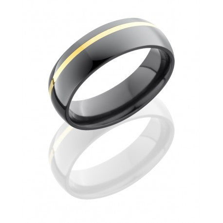 14 kt Yellow Gold and Black Zirconium Wedding Band