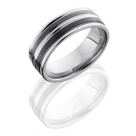 8mm Tungsten and Ceramic Wedding Band