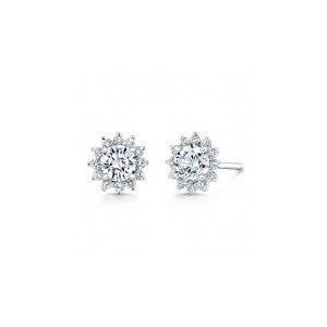 18kt White Gold Halo Starburst Earrings