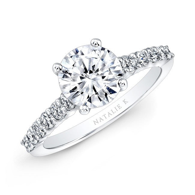 18kt White Gold Diamond Cathedral Semi-Mount Engagement Ring
