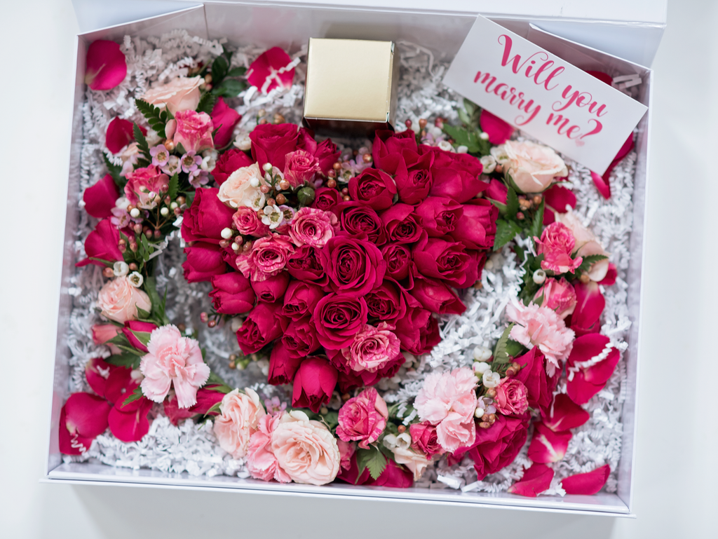 "Just in time for Valentine's Day engagements! - Blooms & Bliss Floral Design presents ""The ProPosy Box""--Pretty posies for popping the big question"