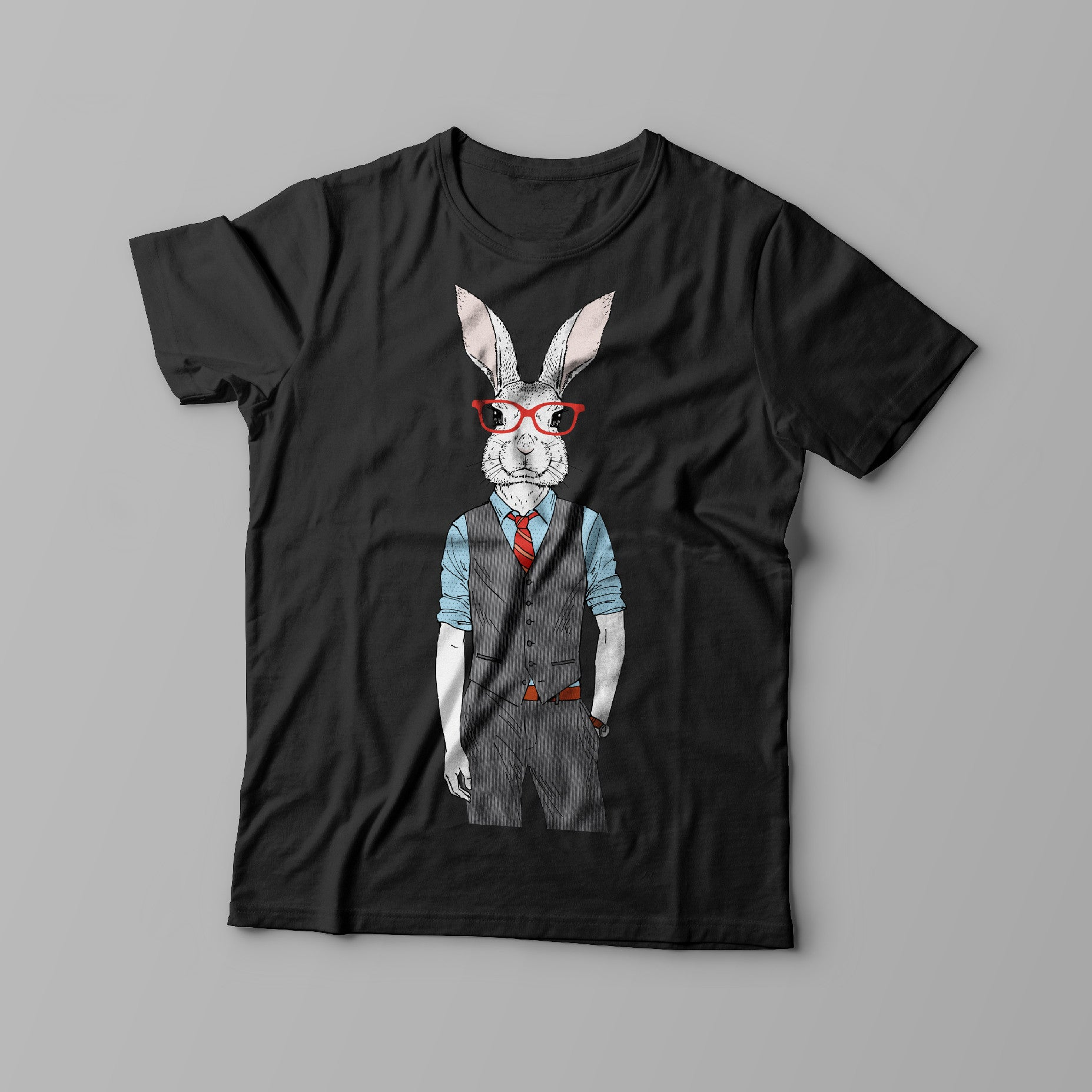 bunny design on front of black t-shirt