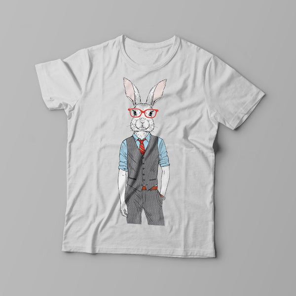 Creative Designed Personalised bunny design on front of white t-shirt